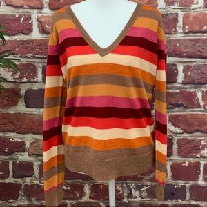 ⚜️THE LIMITED V NECK STRIPE WOOL SWEATER LARGE